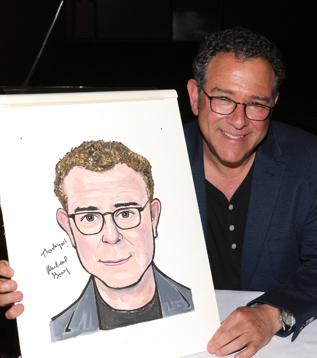 Michael Greif and his Sardi's caricature.