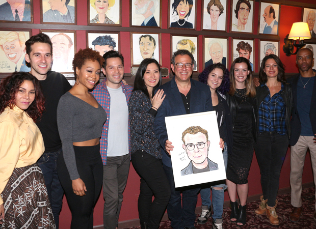 Michael Greif is flanked by cast members from Rent, If/Then, and Next to Normal.