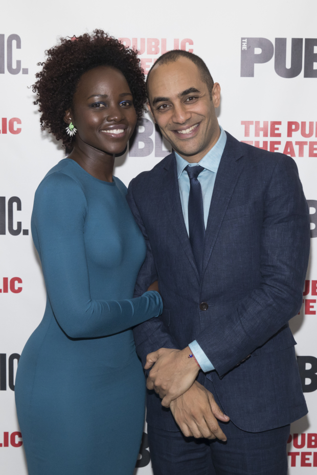 Lupita Nyong'o takes a photo with director Saheem Ali at opening night of the Public Theater Mobile Unit's Twelfth Night.