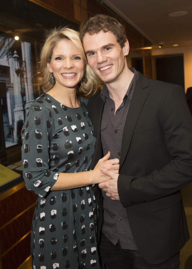 Costars Kelli O'Hara and Jay Armstrong Johnson stop for a photo.