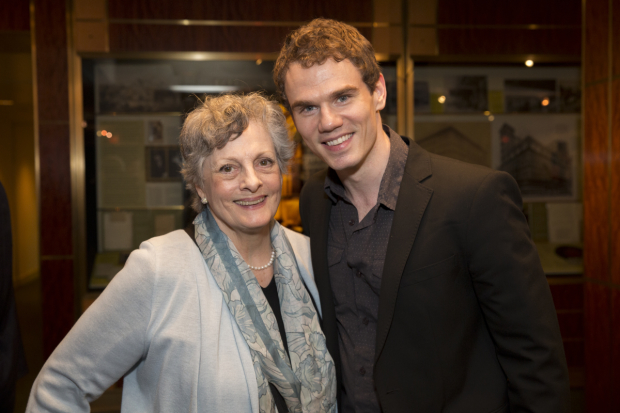 Dana Ivey grabs a photo with Jay Armstrong Johnson after the show.