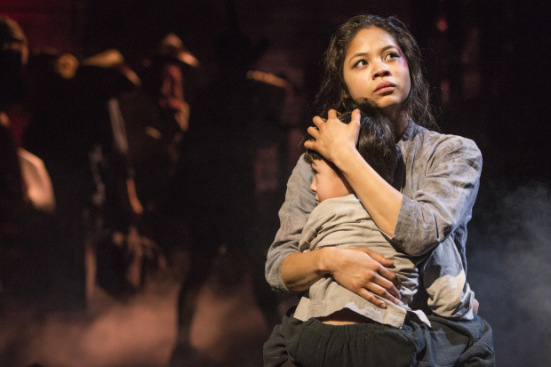 Eva Noblezada, a 2017 Tony nominee, embraces costar Samuel Li Weintraub in a scene from Miss Saigon.