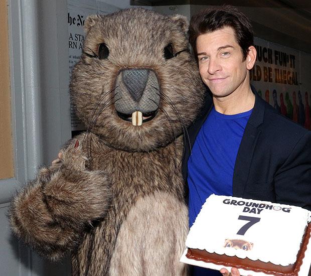 Andy Karl and his groundhog pal (played by Raymond J. Lee) celebrate lucky 7.