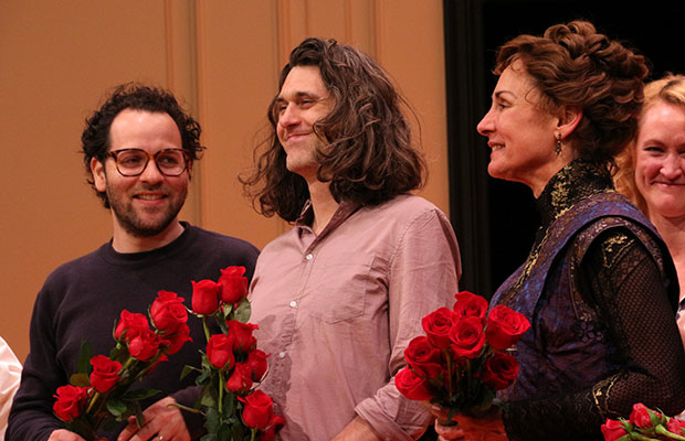 Sam Gold and Lucas Hnath join fellow Tony nominee Laurie Metcalf on stage.