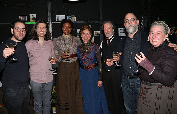 Sam Gold, Lucas Hnath, Condola Rashad, Laurie Metcalf, Chris Cooper, David Zinn, and Jayne Houdyshell toast their nominations.
