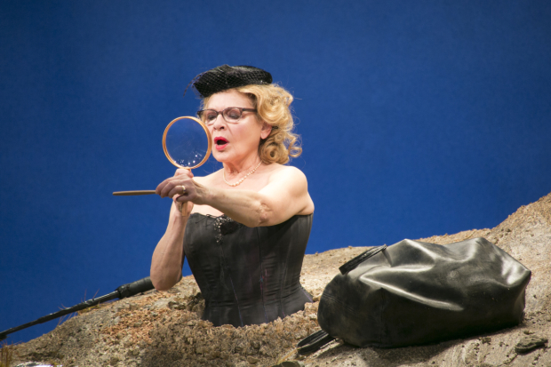 Dianne Wiest stars as Winnie in the Yale Repertory Theatre production of Samuel Beckett's Happy Days, directed by James Bundy and presented by Theatre for a New Audience at the Polonsky Shakespeare Center.