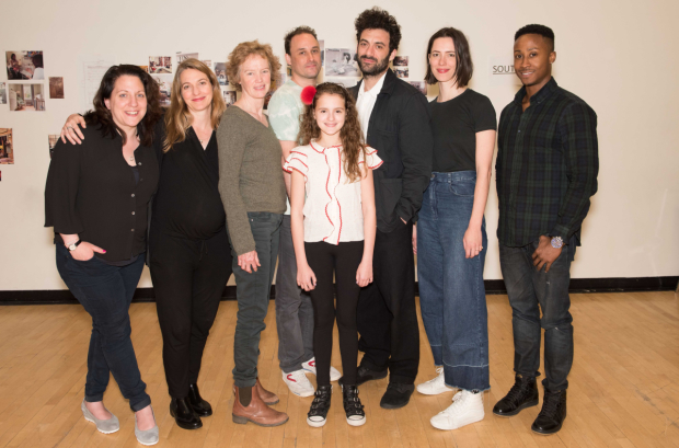 The company of Animal, directed by Gaye Taylor Upchurch (second from left), at rehearsal.