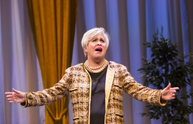Nancy Opel stars in Curvy Widow, directed by Peter Flynn, at George Street Playhouse.
