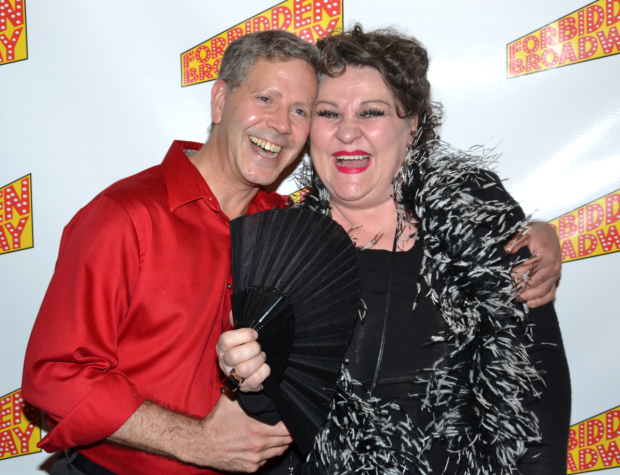 Nora Mae Lyng (right), with Fred Barton, at the opening of Forbidden Broadway: Alive And Kicking! in 2012
