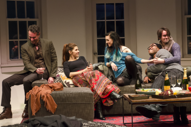 Omar Metwally, Marisa Tomei, Lena Hall, Austin Smith, and David McElwee in Sarah Ruhl's How to Transcend a Happy Marriage.