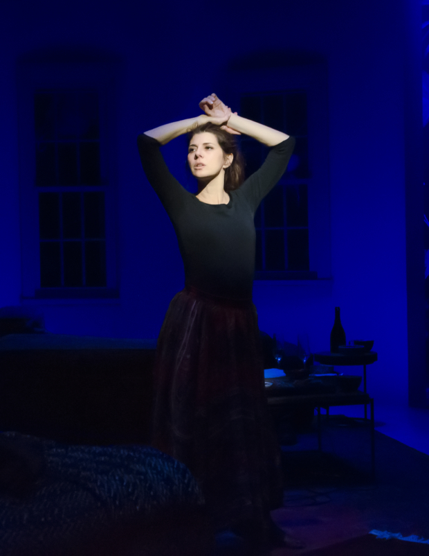 Marisa Tomei as George in Sarah Ruhl's How to Transcend a Happy Marriage at the Mitzi E. Newhouse Theater.