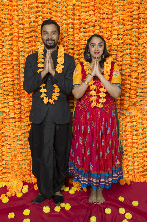 Namit Das as Dubey and Anisha Nagarajan as Alice in the world premiere musical Monsoon Wedding at Berkeley Rep.