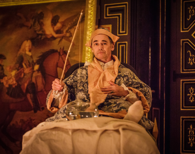 Mark Rylance as King Philippe in Shakespeare Globe's production of Farinelli and the King.