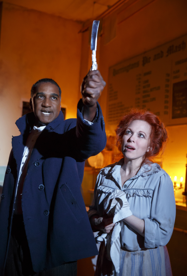 Norm Lewis and Carolee Carmello star in Sweeney Todd, directed by Bill Buckhurst, at the Barrow Street Theatre.