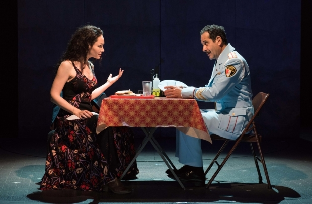 Katrina Lenk and Tony Shalhoub in The Band's Visit, directed by David Cromer, at the Linda Gross Theater.