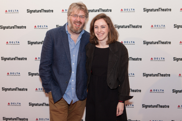 Dave Malloy, currently starring in Natasha, Pierre, and the Great Comet of 1812, takes a photo with spouse Eliza Bent