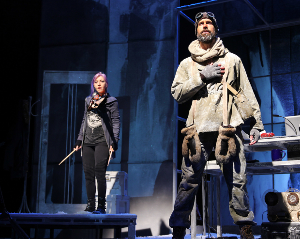A scene from Ernest Shackleton Loves Me, featuring Val Vigoda and Wade McCollum.