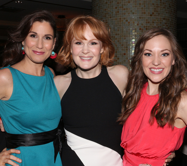 Stephanie J. Block, Kate Baldwin, and Laura Osnes pose for a photo at the Drama Desk Awards meet the nominees press event.