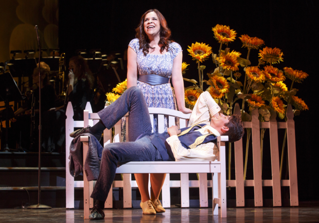 Lindsay Mendez plays Helen, and Barton Cowperthwaite plays Paris in Jerome Moross and John Latouche's The Golden Apple, directed by Michael Berresse for New York City Center Encores!