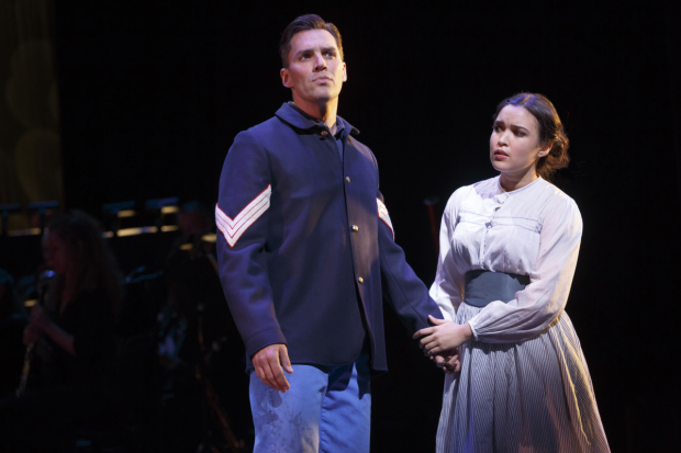 Ryan Silverman plays Ulysses, and Mikaela Bennett plays Penelope in The Golden Apple at New York City Center.