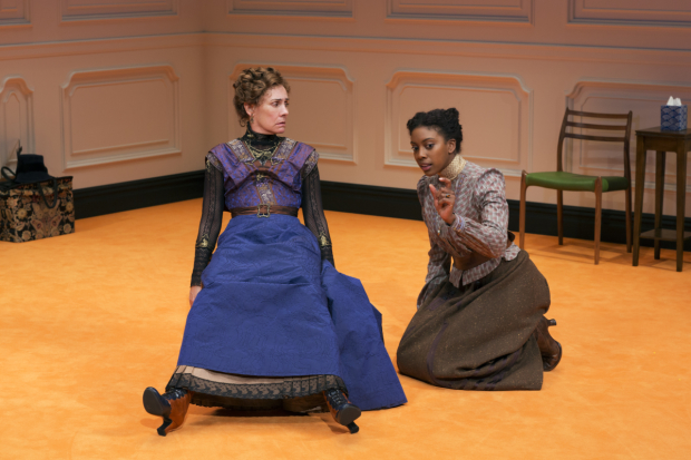 Laurie Metcalf and Condola Rashad as Nora and her estranged daughter Emmy in A Doll's House, Part 2.