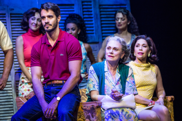 Ektor Rivera as Emilio Estefan with Alma Cuervo and Andréa Burns as his grandmother- and mother-in-law.