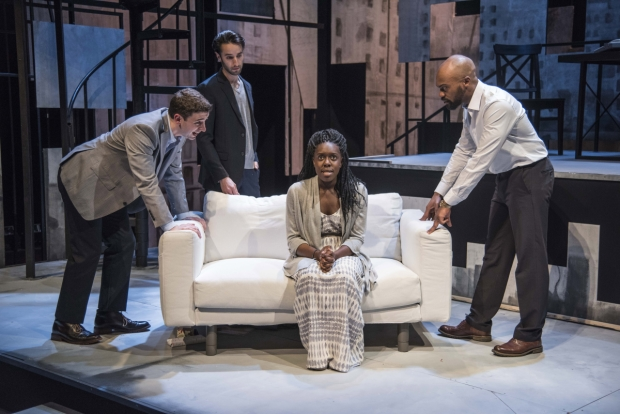 Alejandro Simoes, Zachary Rice, Obehi Janice, and Maurice Emmanuel Parent in The Gift Horse, directed by Jim Petosa, at New Repertory Theatre.