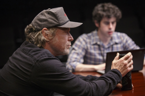 Will Patton and Brian Miskell in a scene from Annie Baker's The Antipodes, directed by Lila Neugebauer, at the Pershing Square Signature Center.