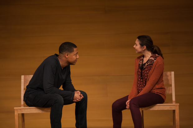 Jerry MacKinnon and Samantha Ressler in Actually, directed by Tyne Rafaeli, at the Geffen Playhouse.