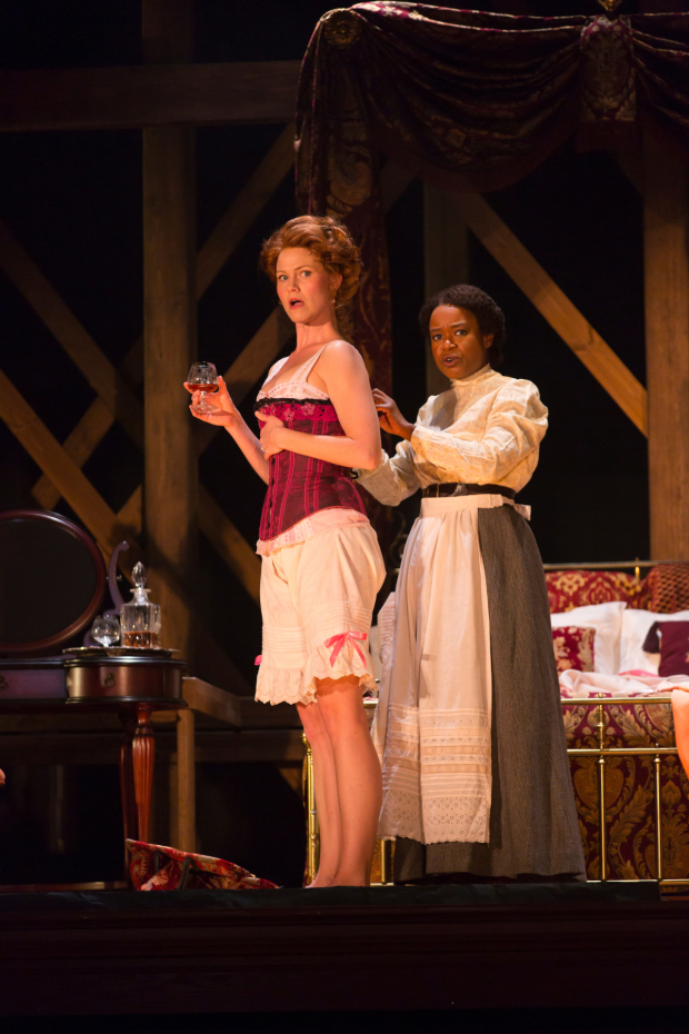 Kate MacCluggage and Quincy Tyler Bernstine in a scene from Intimate Apparel.
