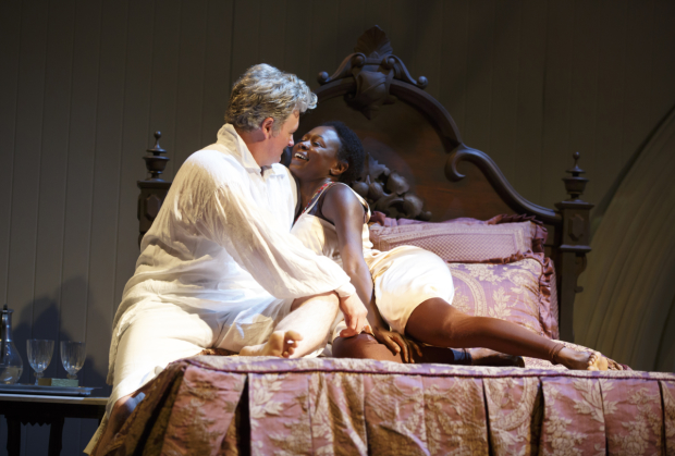John Ellison Conlee and Zainab Jah in Venus, directed by Lear deBessonet, at the Pershing Square Signature Center.