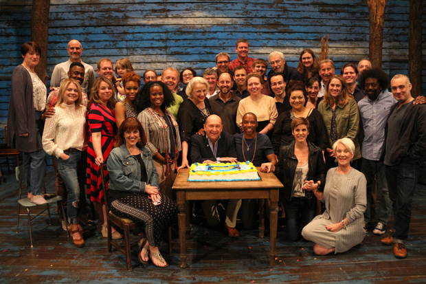 The company of Come From Away celebrated 300 performances worldwide at Broadway's Schoenfeld Theatre.