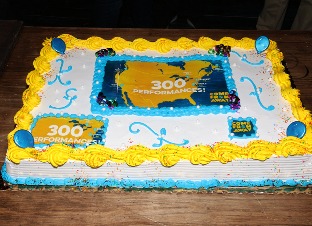 The delightful looking cake marked all the locations the show has been performed.