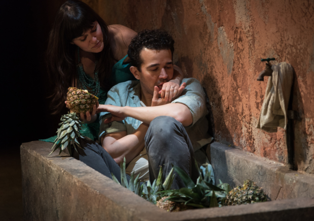 Flora Diaz and Rey Lucas eat pineapples in Seven Spots on the Sun.