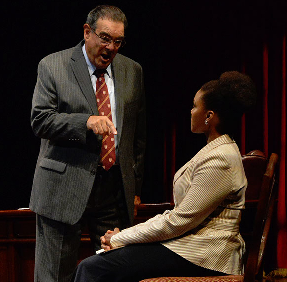 Edward Gero as Supreme Court Justice Antonin Scalia and Jade Wheeler as Cat in John Strand's The Originalist.
