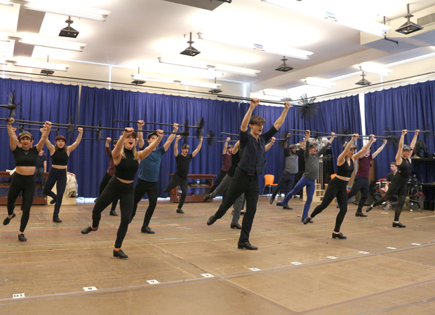 "The chimney sweeps of Paper Mill Playhouse's Mary Poppins dance ""Step in Time."""