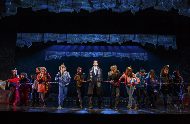 Andy Karl (center) and the cast of Groundhog Day at Broadway's August Wilson Theatre.