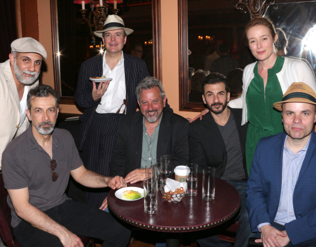 Oslo stars Anthony Azizi, Dariush Kashani, Jefferson Mays, Jeff Still, Michael Aronov, and Jennifer Ehle pose with playwright J.T. Rogers.