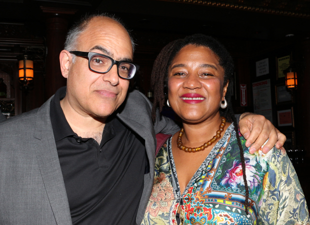 David Yazbek and Lynn Nottage take a photo together.