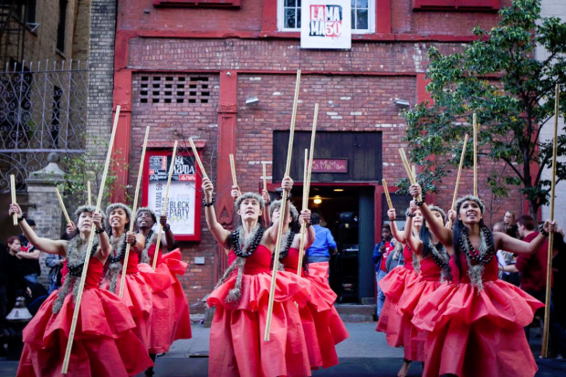 Pua Ali'i 'Ilima O Nuioka, the school of Hawaiian dance, participates in a La MaMa Block Party.