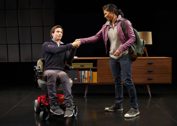 Gregg Mozgala and Jolly Abraham star in Cost of Living, directed by Jo Bonney, at New York City Center.