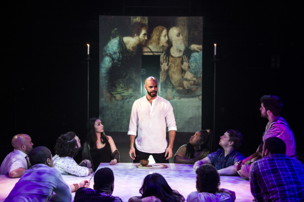 icholas Edwards (Jesus) with the cast of Jesus Christ Superstar, directed by Joe Calarco, at Signature Theatre.