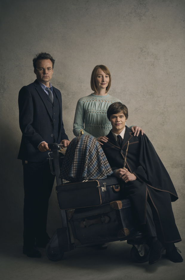 Jamie Glover as Harry Potter, Emma Lowndes as Ginny Potter, and Theo Ancient as Albus Potter in new character portraits from the West End production of Harry Potter and the Cursed Child.