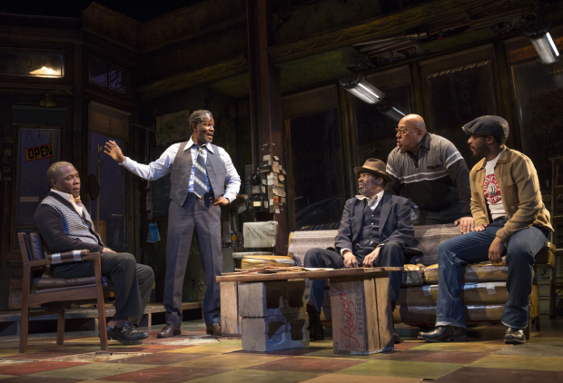 John Douglas Thompson (second-from-left), with Michael Potts, Anthony Chisholm, Keith Randolph Smith, and André Holland in August Wilson's Jitney at the Samuel J. Friedman Theatre.