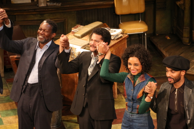 John Douglas Thompson, Brandon Dirden, Carra Patterson, and André Holland take their bow on the opening night of August Wilson's Jitney.
