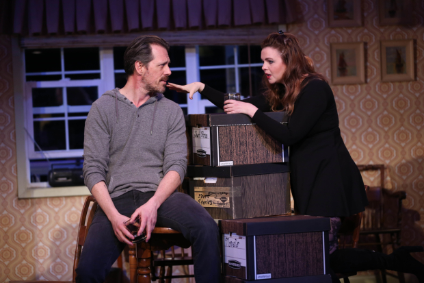 Darren Pettie (Graham) and Amber Tamblyn (Miranda) in Gina Gionfriddo's Can You Forgive Her?, directed by Peter DuBois, at the Vineyard Theatre.