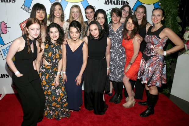 The cast of The Wolves celebrates their Ensemble win at the 62nd Obie Awards.