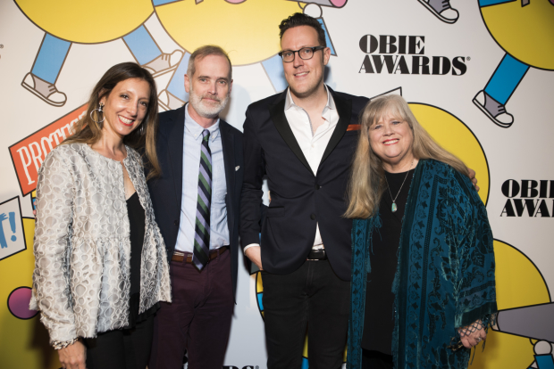 Lori Fineman, Jack Cummings III, Dane Laffrey, and Heather MacRae all represented Transport Group at the 62nd Annual Obie Awards.