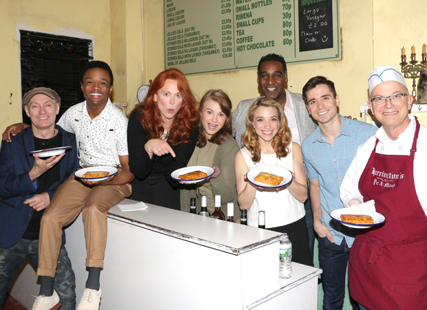 The company of Sweeney Todd: Jamie Jackson, John-Michael Lyles, Carolee Carmello, Stacie Bono, Norm Lewis, Alex Finke, Matt Doyle, and pie maker Bill Yosses.