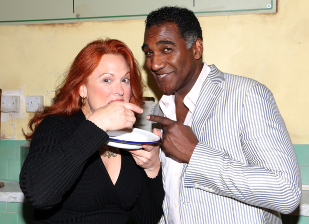 Carolee Carmello and Norm Lewis sample the pies of Sweeney Todd.